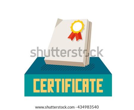 Certificate graphic. Flat vector illustration. - stock vector