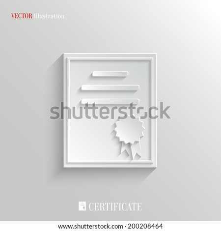 Certificate icon - vector education background with shadow - stock vector