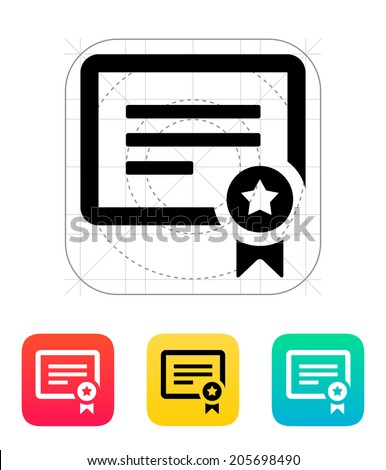 Certificate icon. Vector illustration. - stock vector
