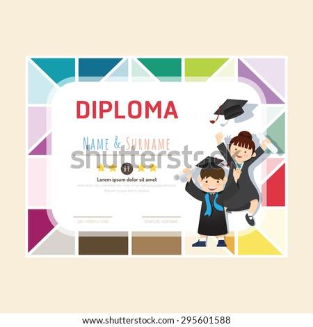 Certificate kids diploma, kindergarten template layout background frame design vector. education preschool concept flat art style - stock vector