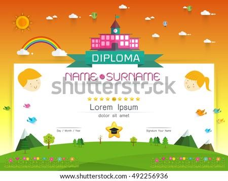 Certificate Kids Diploma Kindergarten Template Layout Stock Vector ...