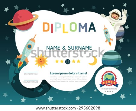 Certificate kids diploma, kindergarten template layout space background frame design vector. education preschool concept flat art style - stock vector