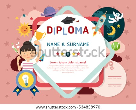 Certificate kids diploma, kindergarten template layout space background frame design vector. education preschool concept flat art style.