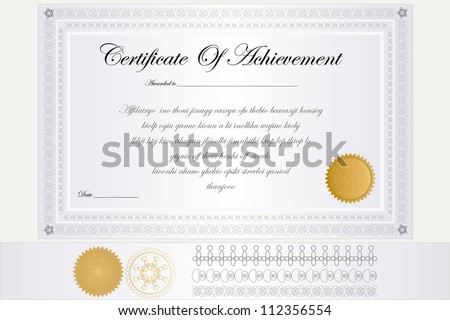 Certificate Of Achievement. - stock vector