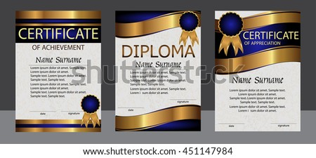 Certificate of achievement, appreciation, diploma vertical template. Set blue and gold. Reward. Award winner. Winning the competition. The text on separate layer. Vector illustration. - stock vector