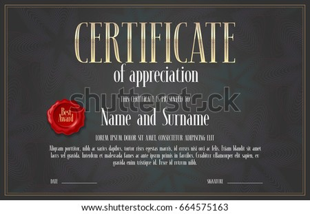 Certificate Achievement Appreciation Vector Design Template Stock