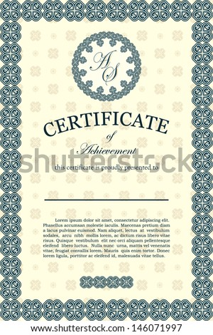 Certificate of achievement, classic design
