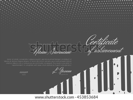 Certificate of achievement for jazz festival or music competition. Certificate of completion, appreciation, graduation, diploma or award. Stock vector. - stock vector