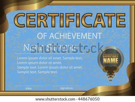 Certificate of achievement horizontal template. Bright blue paper in a gold frame. Winning the competition. Reward. Award winner. The text on separate layer. Vector illustration. - stock vector