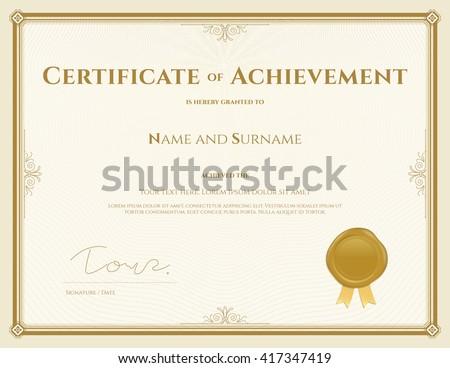 Certificate Achievement Template Vector Gold Theme Stock Vector Hd