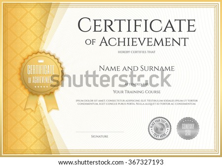 Certificate stock images royalty free images vectors shutterstock certificate of achievement template in vector with applied thai line in yellow gold tone yelopaper Gallery