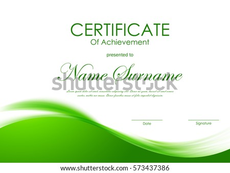 Certificate achievement template green dynamic elegant stock certificate of achievement template with green dynamic elegant soft wavy background vector illustration yadclub Choice Image