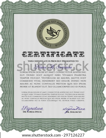 Certificate of achievement template. With guilloche pattern. Sophisticated design. Vector illustration.