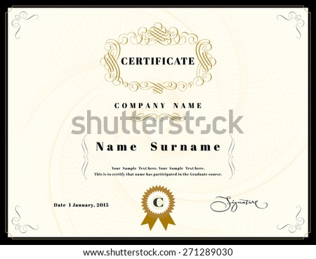 Certificate Appreciation Design Template Element Emblem Stock