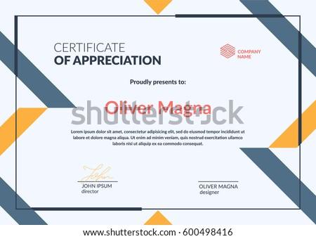 certificate appreciation minimal template trendy geometric design
