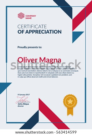 certificate appreciation template cool geometric design