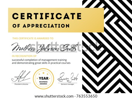 certificate appreciation template design elegant business の