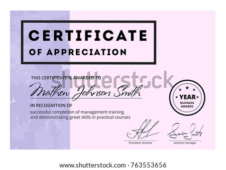 Certificate appreciation template design elegant business stock certificate of appreciation template design elegant business diploma layout for training graduation or course completion yadclub Choice Image