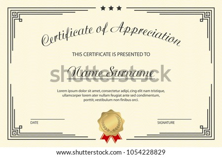 Certificate appreciation template elegant design vintage stock certificate of appreciation template elegant design for vintage diploma with medal and frame vector yadclub Gallery