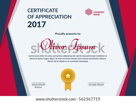 Certificate appreciation template layered eps10 vector stock certificate of appreciation template layered eps10 vector minimal flat design yadclub Gallery