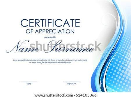 Certificate appreciation template blue dynamic curved stock vector certificate of appreciation template with blue dynamic curved wavy background vector illustration yelopaper Image collections