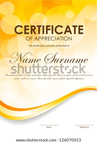 Certificate appreciation template blurred surface orange stock certificate of appreciation template with blurred surface and orange wavy curve dynamic background vector illustration yadclub Image collections