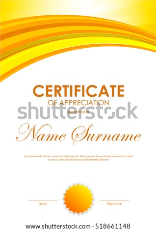 Certificate of appreciation template with bright orange wavy background and seal. Vector illustration