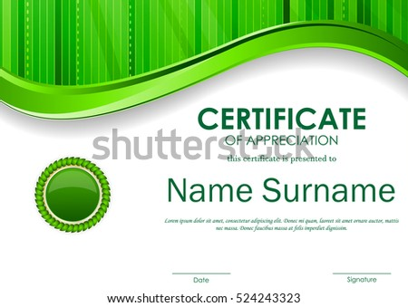 Certificate appreciation template green digital wavy stock photo certificate of appreciation template with green digital wavy stripe surface background and seal vector illustration yelopaper Choice Image