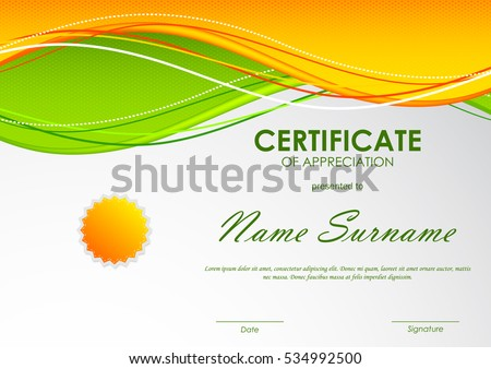 Certificate appreciation template orange green wavy stock vector certificate of appreciation template with orange and green wavy background and seal vector illustration yadclub Image collections