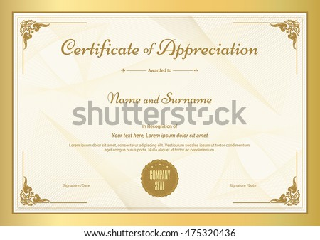 Certificate Appreciation Template Vintage Gold Border ...