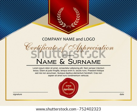 Arzans portfolio on shutterstock certificate of appreciation with laurel wreath and wax seal yadclub Images
