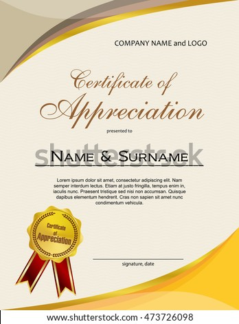 Certificate Appreciation Medal Ribbon Stock Vector 463355258