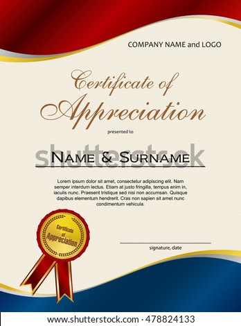 Certificate appreciation medal ribbon portrait version stock certificate of appreciation with medal and ribbon portrait version yadclub Images