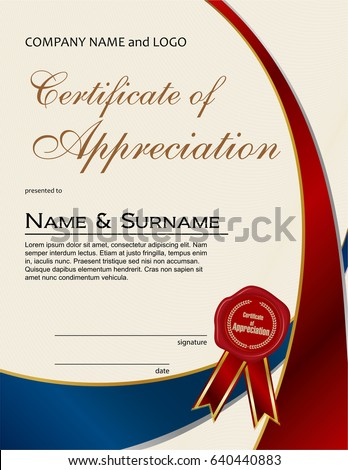 Certificate appreciation wax seal ribbon portrait stock vector certificate of appreciation with wax seal and ribbon portrait version yadclub Images