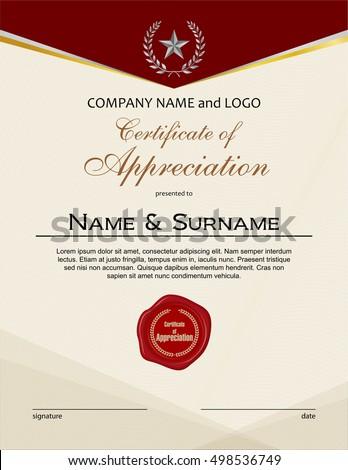Certificate Appreciation Wax Seal Portrait Version Stock Vector ...