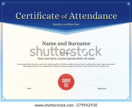 Certificate attendance template vector achievement graduation certificate of attendance template in vector for achievement graduation completion yelopaper Images