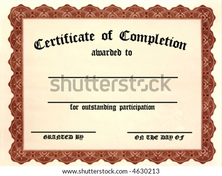 Certificate of Completion. Customizable - Fill in the blanks! - stock vector