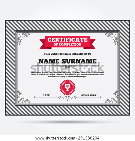 Sports certificate stock images royalty free images vectors certificate of completion golf ball sign icon sport symbol winner award cup yadclub Choice Image