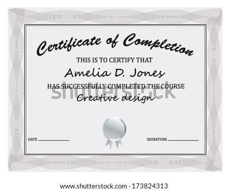 Certificate completion template stock vector 173824313 shutterstock certificate of completion template yadclub Gallery