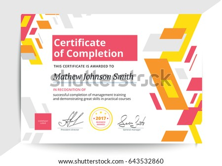 Certificate completion template modern design business stock certificate of completion template in modern design business diploma layout for training graduation or course yadclub Images