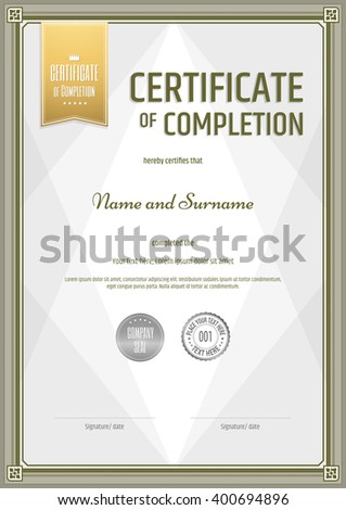 certificate of completion template in portrait and vector format
