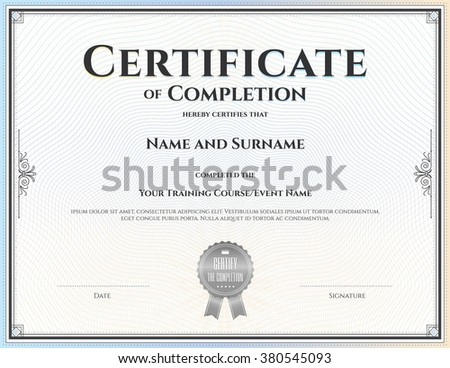 images of certificate of completion