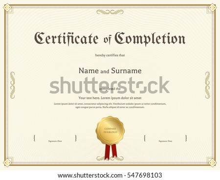 Certificate Of Completion Template In Vintage Theme  Computer Course Completion Certificate Format