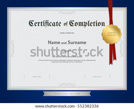 Certificate Completion Template Blue Border Stock Vector Hd Royalty