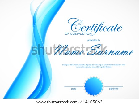 Certificate completion template blue dynamic light stock vector certificate of completion template with blue dynamic light soft wavy smoky background and seal vector yadclub Gallery
