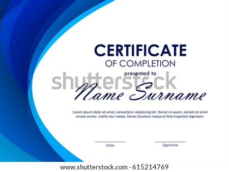 Certificate completion template blue futuristic wavy stock vector certificate of completion template with blue futuristic wavy background vector illustration yadclub Gallery