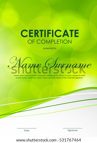 Certificate achievement template green dynamic elegant stock certificate of completion template with bright green blurred wavy background vector illustration yadclub Gallery