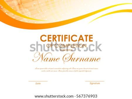 Certificate completion template digital dynamic orange stock certificate of completion template with digital dynamic orange wavy background vector illustration yadclub Images
