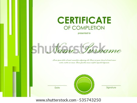 Certificate completion template digital light green stock vector certificate of completion template with digital light green futuristic background and seal vector illustration yadclub Choice Image
