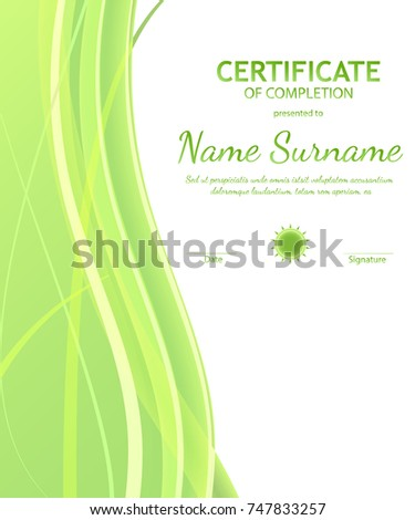 Certificate of completion template with dynamic green and white soft wavy background. Curved lines in elegant smooth style. Vector illustration